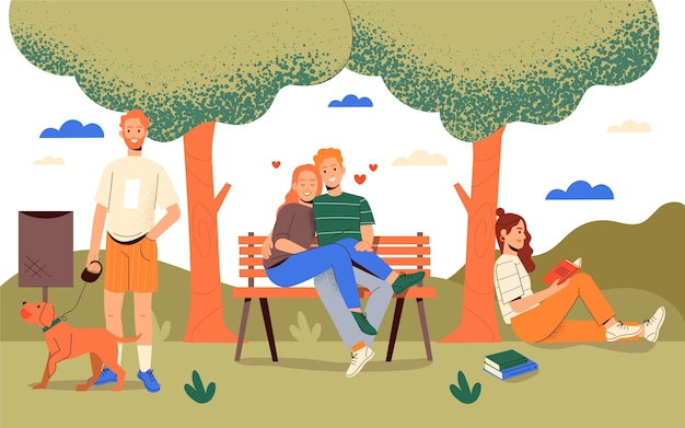 Hand drawn people relaxing at the park
