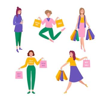 손으로 그린 사람들이 판매 세트에 쇼핑 프리미엄 벡터