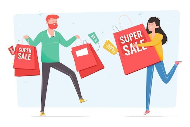 손으로 그린 사람들이 판매 쇼핑 무료 벡터