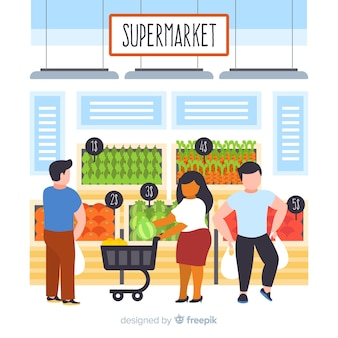 Hand drawn people shopping in the supermarket background
