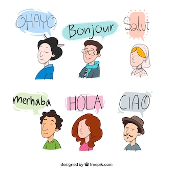 Hand drawn people speaking different languages