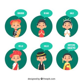 異なる言語を話す手描きの人