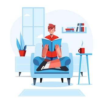 本で家から勉強している手描きの人々