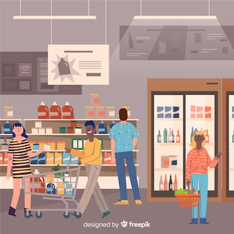 Hand drawn people in the supermarket background