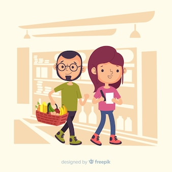 Hand drawn people in the supermarket illustration