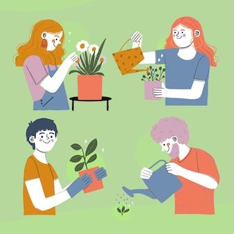 植物の世話をする手描きの人々