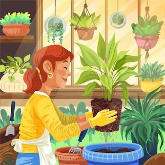 Рисованные люди заботятся о растениях