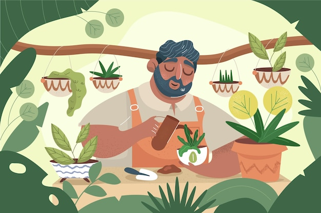 Hand drawn people taking care of plants