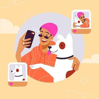 携帯電話で写真を撮る手描きの人々