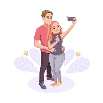 Нарисованные рукой люди фотографируют со смартфоном