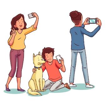 Persone disegnate a mano che scattano foto con lo smartphone