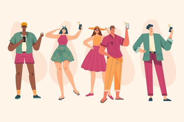 スマートフォンで写真を撮る手描きの人々
