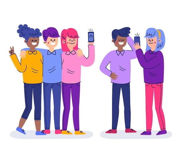 손으로 그린 전화 selfie를 복용하는 사람들