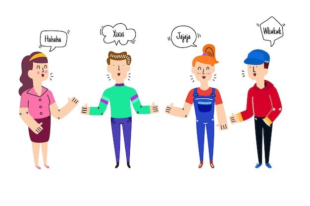 イラストを話す手描きの人々