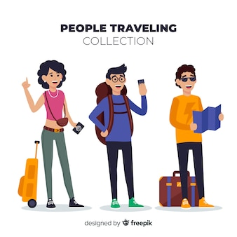 Hand drawn people traveling pack