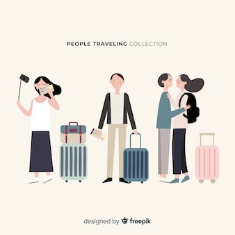 Hand drawn people travelling collection