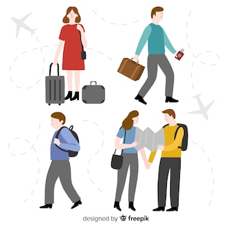 Hand drawn people travelling pack