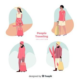 Hand drawn people travelling set