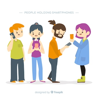 Hand drawn people using smartphone collection