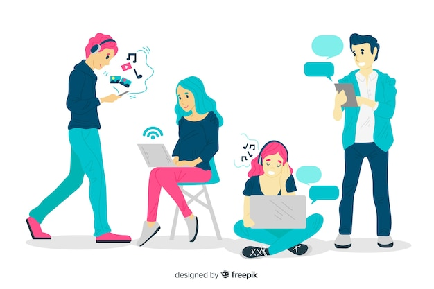 Hand drawn people using technological devices pack
