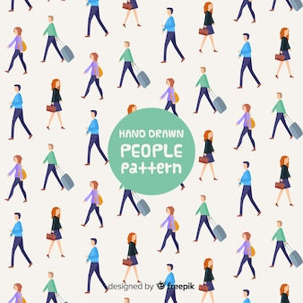 Hand drawn people walking pattern