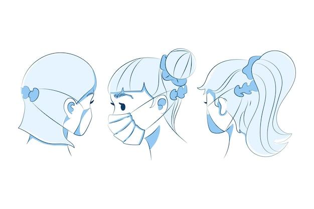 조정 가능한 얼굴 마스크 스트랩을 착용하는 손으로 그린 사람들