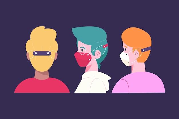 調節可能なフェイスマスクストラップを身に着けている手描きの人々