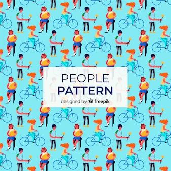 Hand drawn people with bikes pattern background