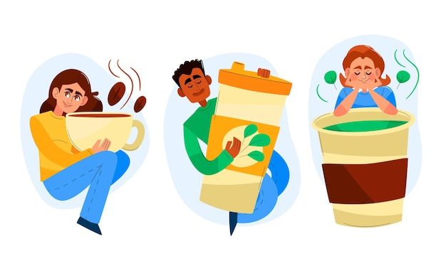 Рисованные люди с разными горячими напитками