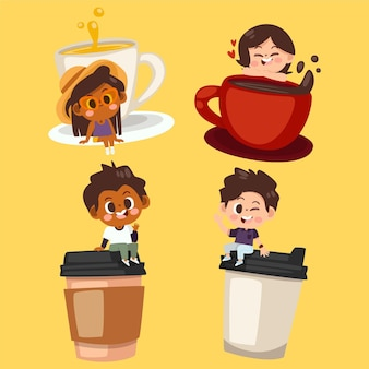 Hand drawn people with hot drinks collection
