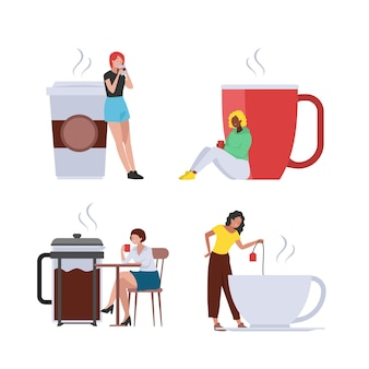 Набор рисованной людей с горячими напитками