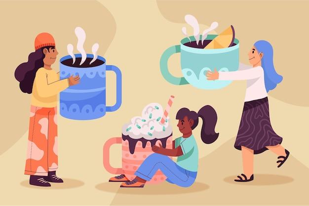 Рисованные люди с горячими напитками