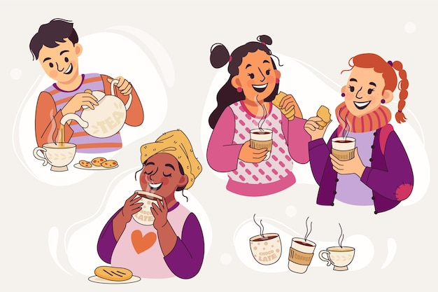 Hand drawn people with hot drinks