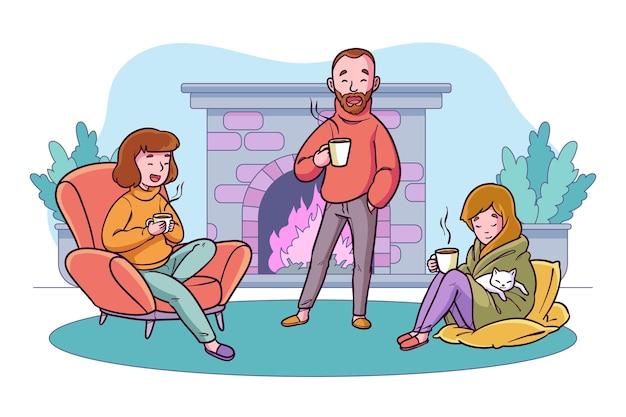 Persone disegnate a mano con bevande calde