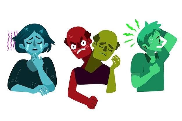 Persone disegnate a mano con problemi di salute mentale