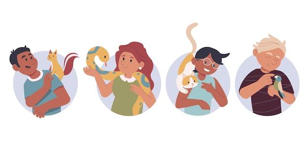 Ручной обращается люди с коллекцией домашних животных