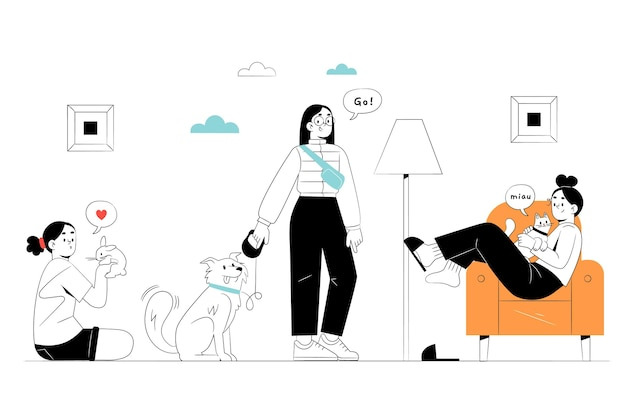 Нарисованные рукой люди с иллюстрацией домашних животных