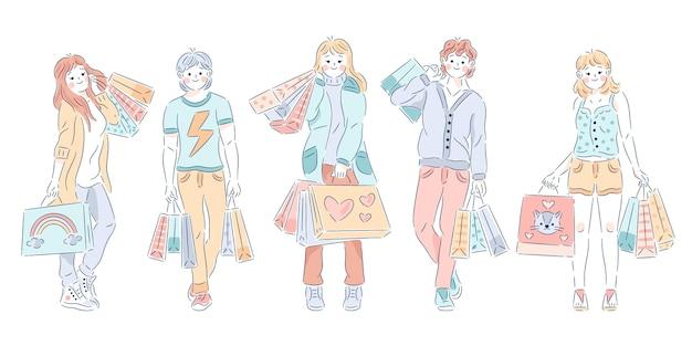 手描きの買い物袋を持つ人々
