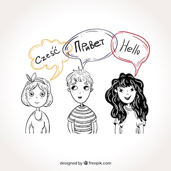 Hand drawn people with speech bubbles in different languages