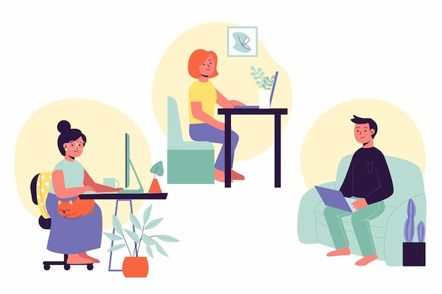 Hand drawn people working from home set