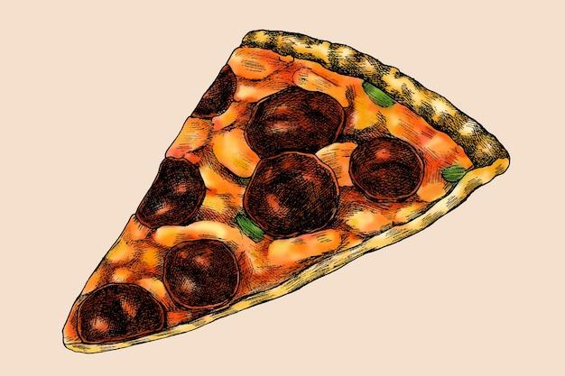 Ручной обращается вектор ломтик пиццы пепперони