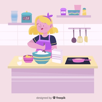 Hand drawn person cooking background