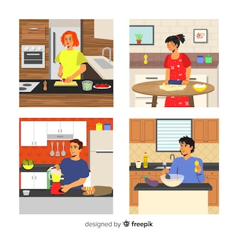 Hand drawn person cooking collection
