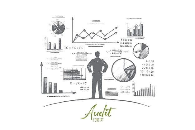 Hand drawn person near wall with charts and diagrams
