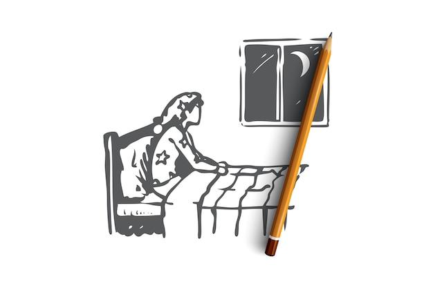 밤 불면증 개념 스케치와 함께 손으로 그려진 된 사람