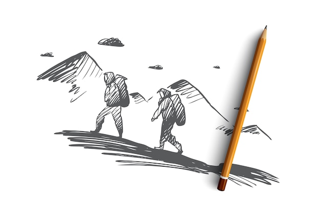 Hand drawn persons climbing on mountain concept sketch