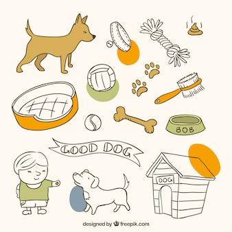Elementi pet disegnati a mano per il vostro cane sveglio Vettore gratuito
