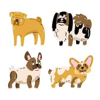 Collezione di adesivi animali domestici disegnati a mano