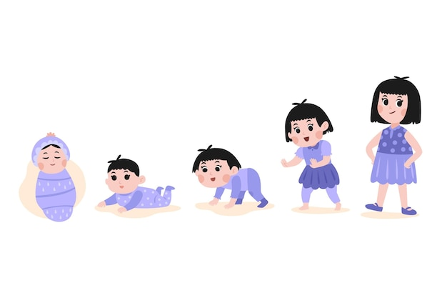 Hand drawn phases of a baby girl