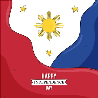 Hand drawn philippine independence day illustration